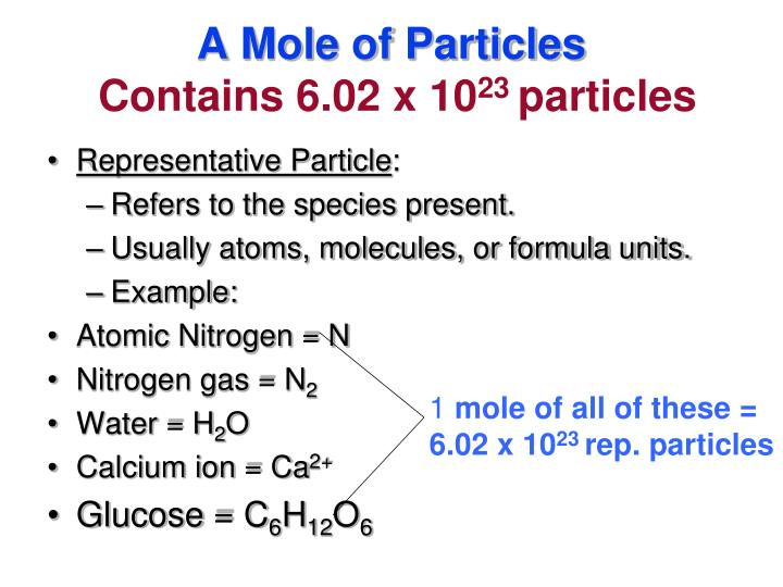 A mole of particles contains 6 02 x 10 23 particles