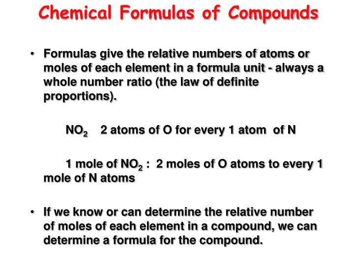 Chemical Formulas of Compounds