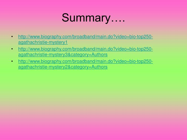 Summary….
