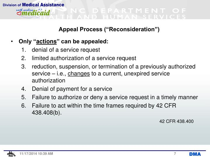"""Appeal Process (""""Reconsideration"""")"""