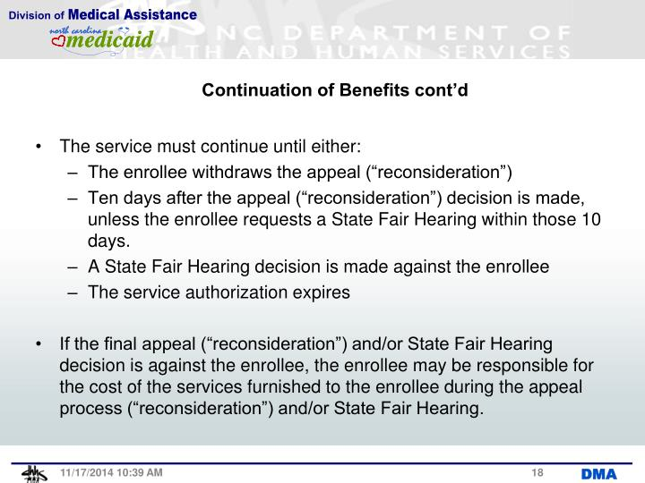 Continuation of Benefits cont'd