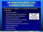 information needs and business processes