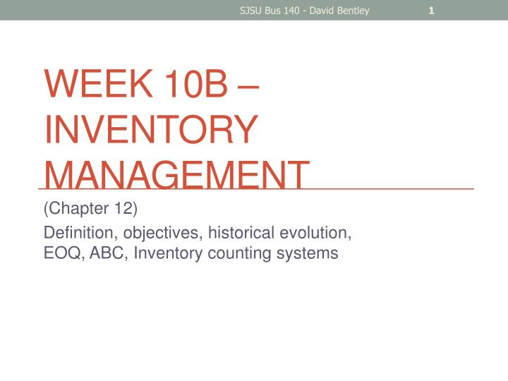 Week 10b inventory management