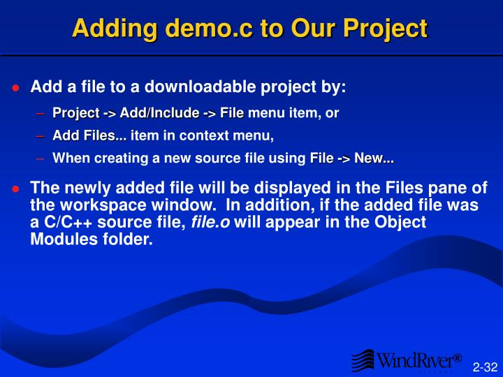 Adding demo.c to Our Project