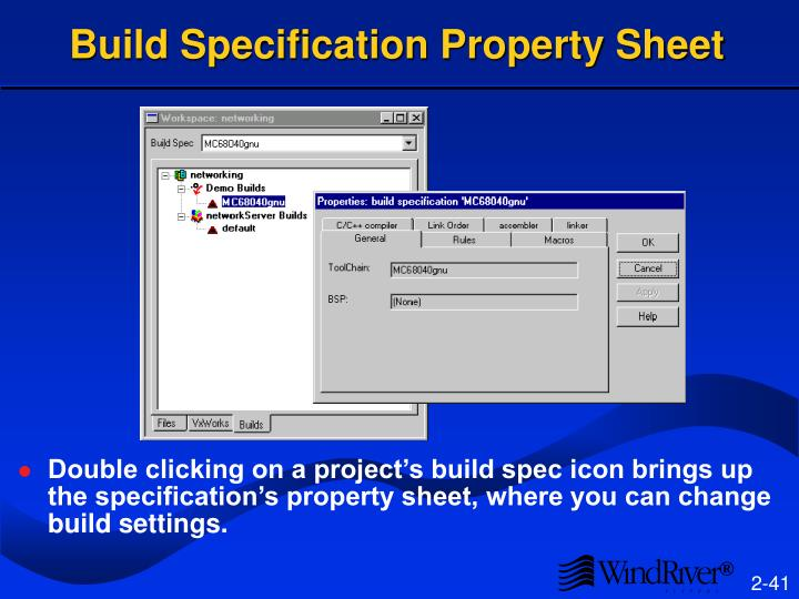 Build Specification Property Sheet