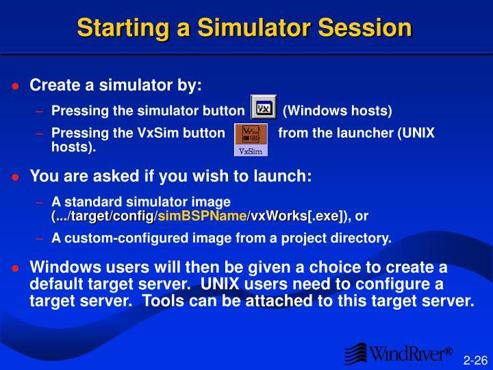 Starting a Simulator Session