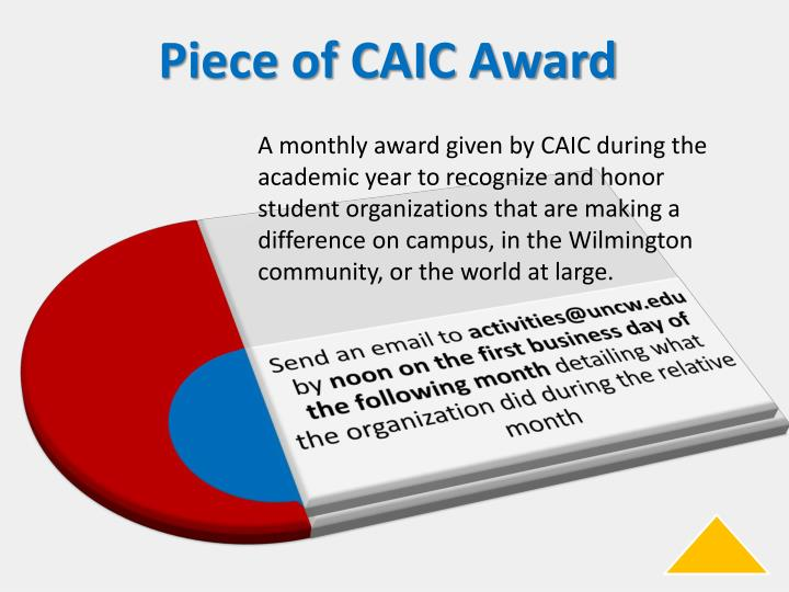 A monthly award given by CAIC during the academic year to recognize and honor student organizations that are making a difference on campus, in the Wilmington community, or the world at large.