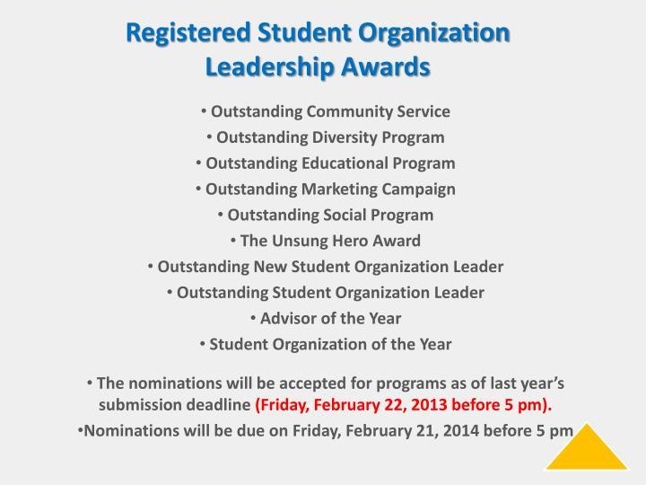 Registered Student Organization Leadership Awards