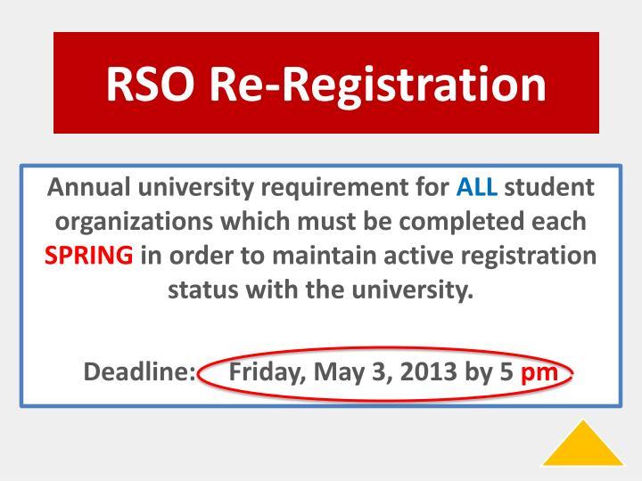 RSO Re-Registration