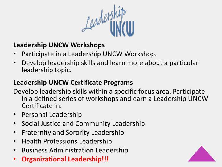 Leadership UNCW Workshops