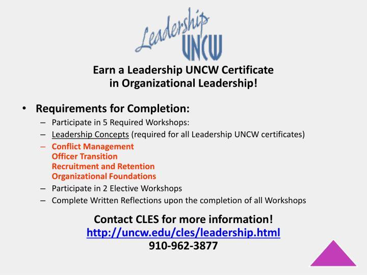 Earn a Leadership UNCW Certificate