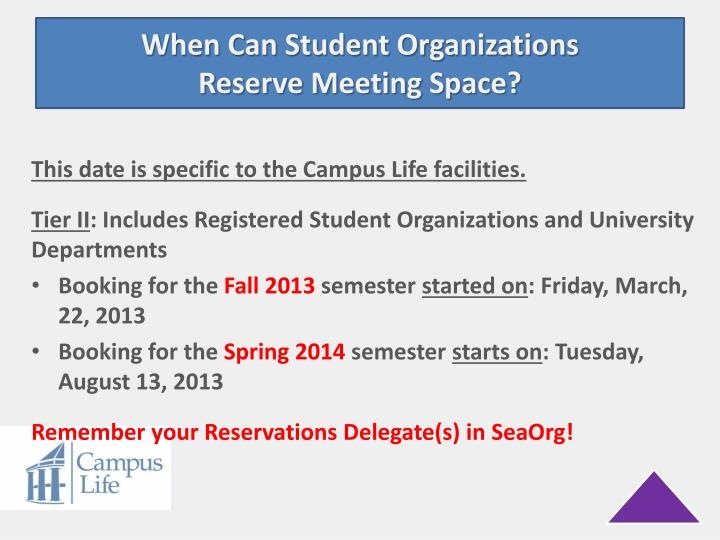 When Can Student Organizations