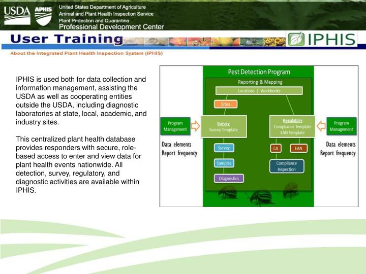 IPHIS is used both for data collection and information management, assisting the USDA as well as coo...