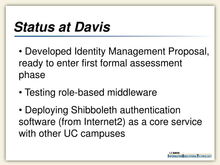Status at Davis