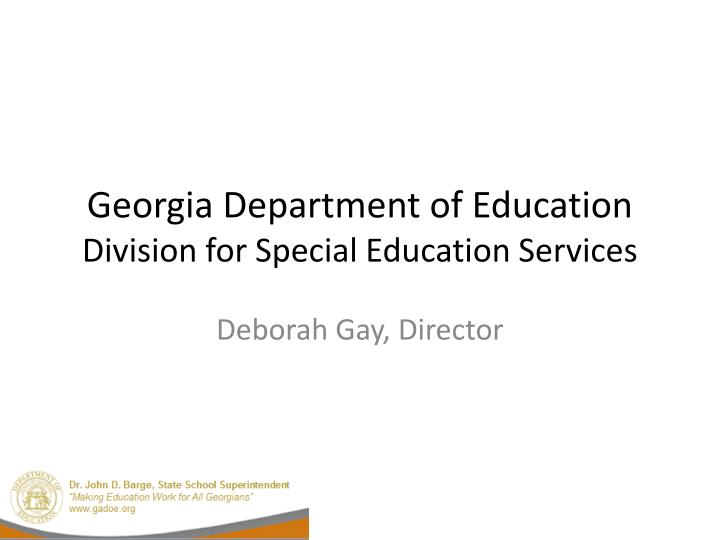 georgia department of education division for special education services n.