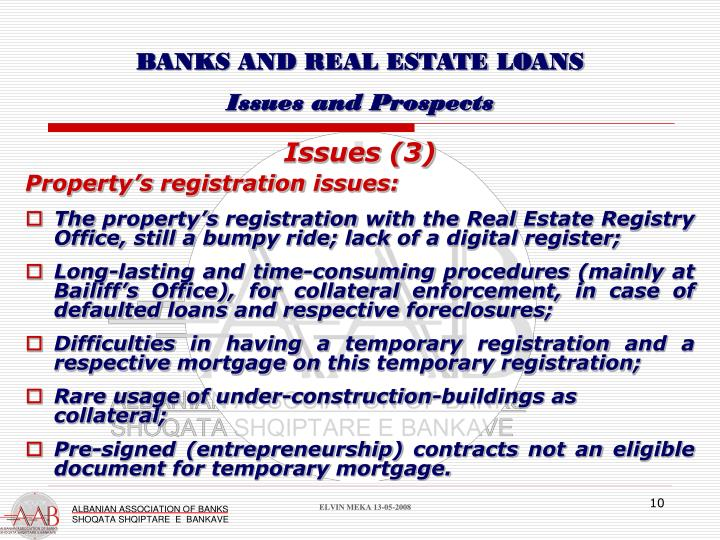BANKS AND REAL ESTATE LOANS