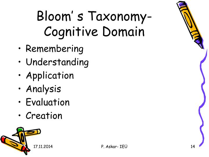 Bloom' s Taxonomy-  Cognitive Domain