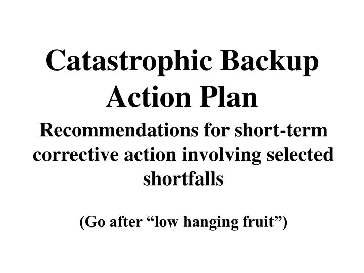 catastrophic backup action plan n.