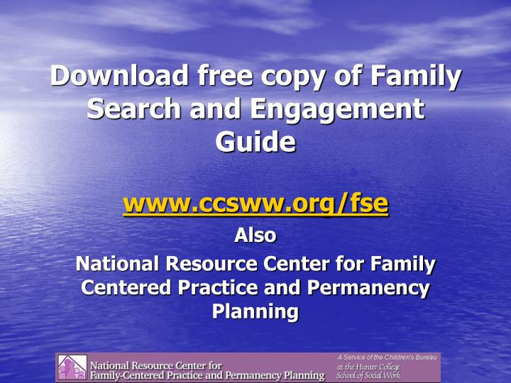 Download free copy of Family Search and Engagement Guide