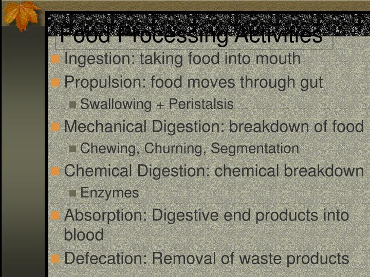 Food Processing Activities