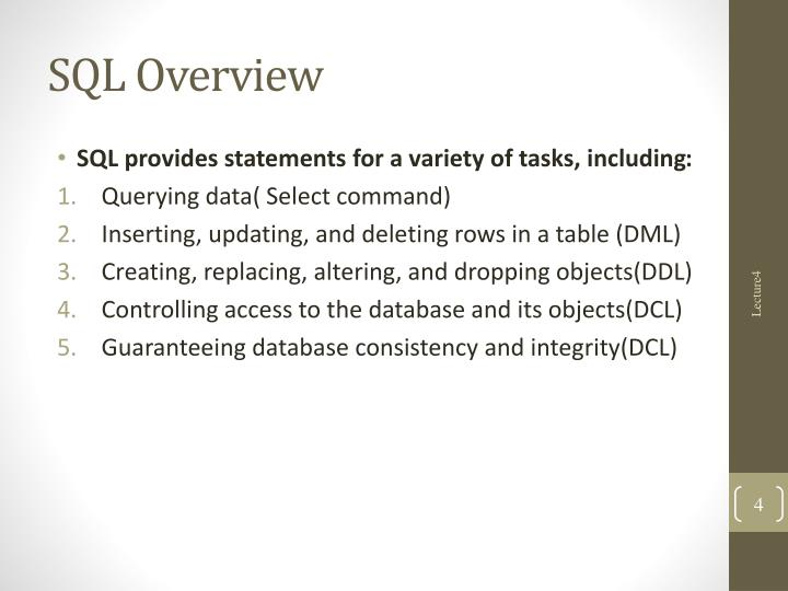 SQL Overview