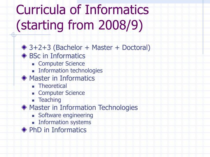 Curricula of Informatics