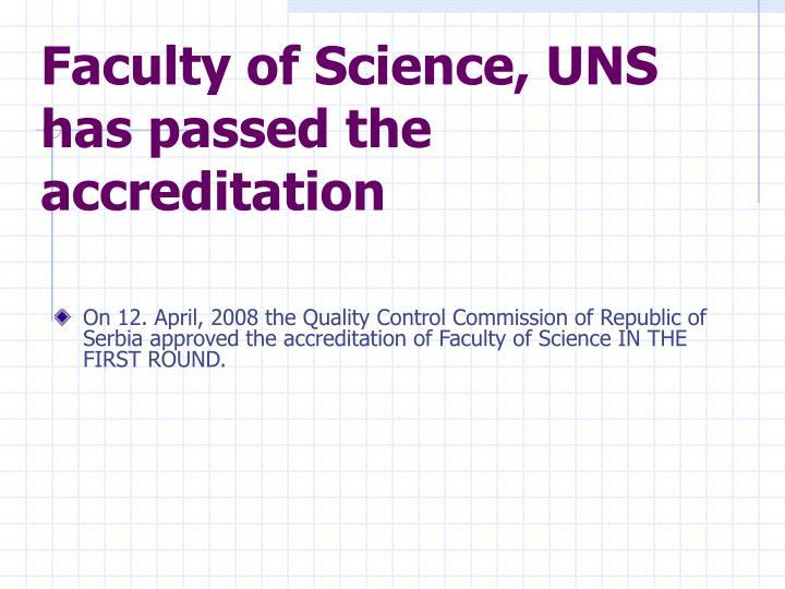 Faculty of Science, UNS has passed the accreditation