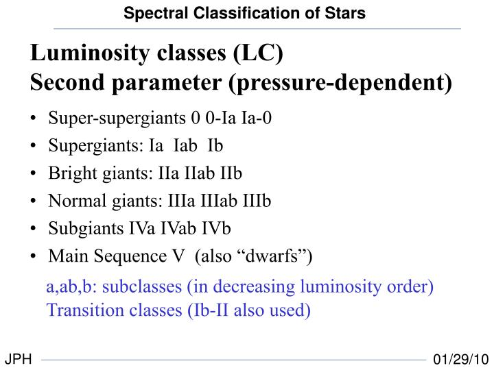Luminosity classes (LC)