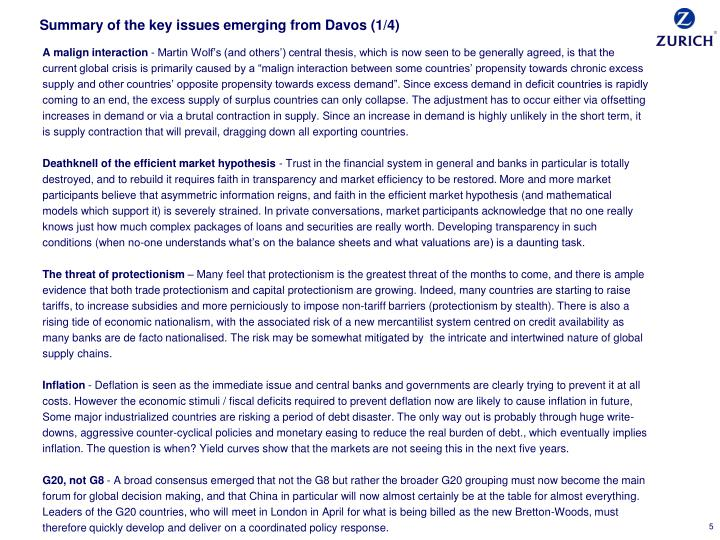 Summary of the key issues emerging from Davos (1/4)