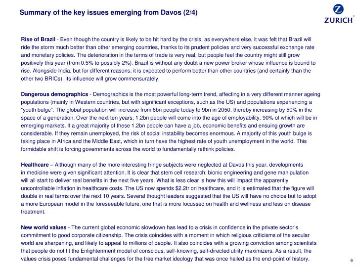Summary of the key issues emerging from Davos (2/4)