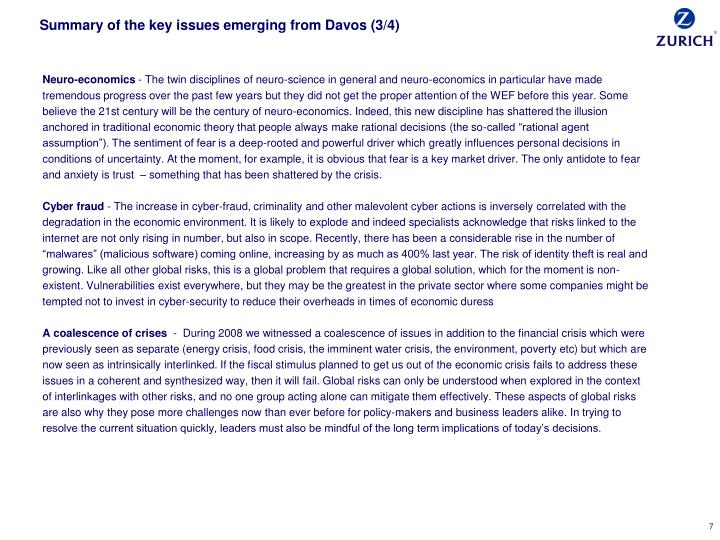 Summary of the key issues emerging from Davos (3/4)