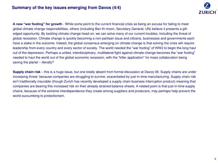 Summary of the key issues emerging from Davos (4/4)