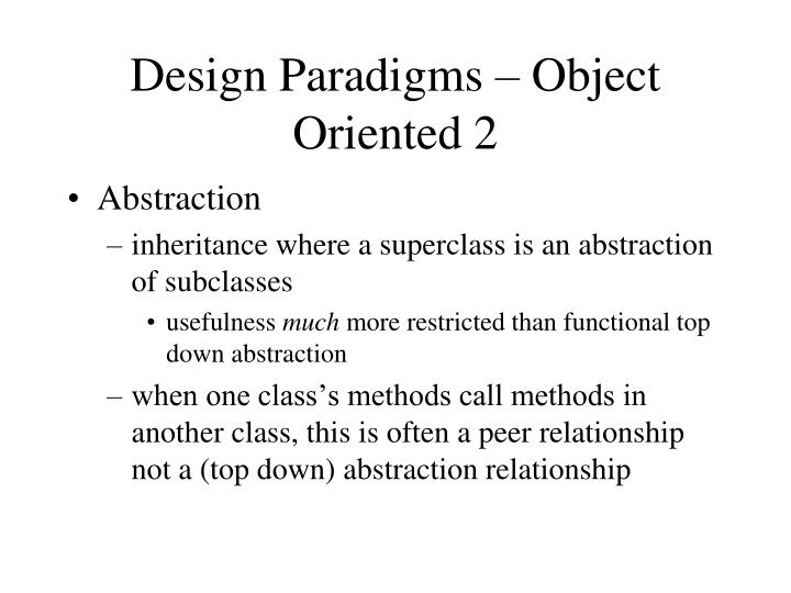 Design Paradigms – Object Oriented 2