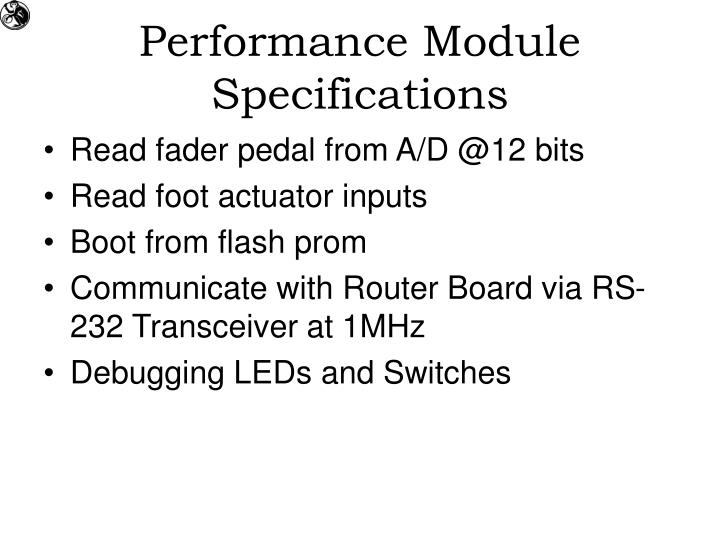 Performance Module Specifications