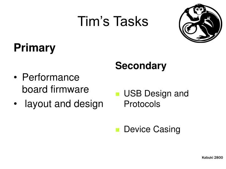 Tim's Tasks