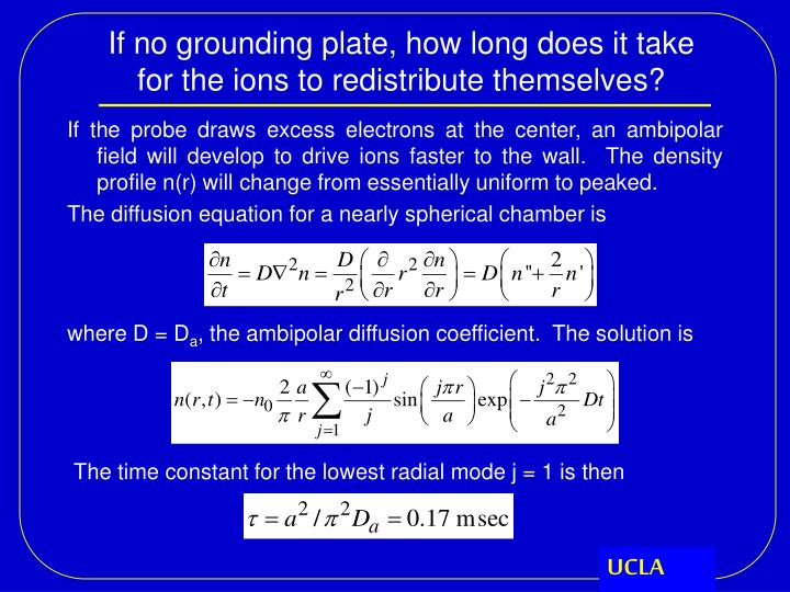 If no grounding plate, how long does it take for the ions to redistribute themselves?