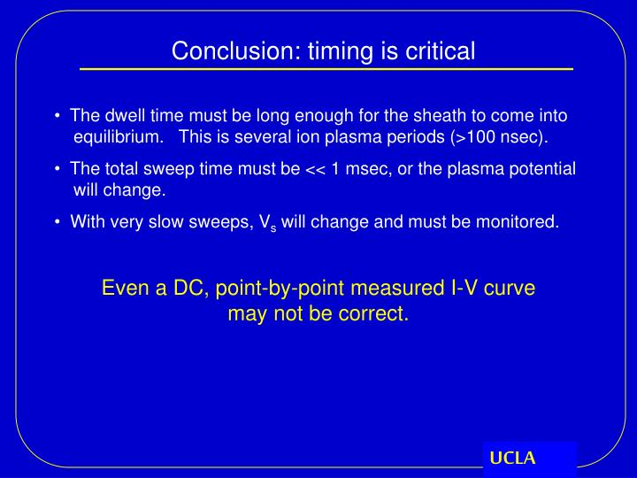 Conclusion: timing is critical
