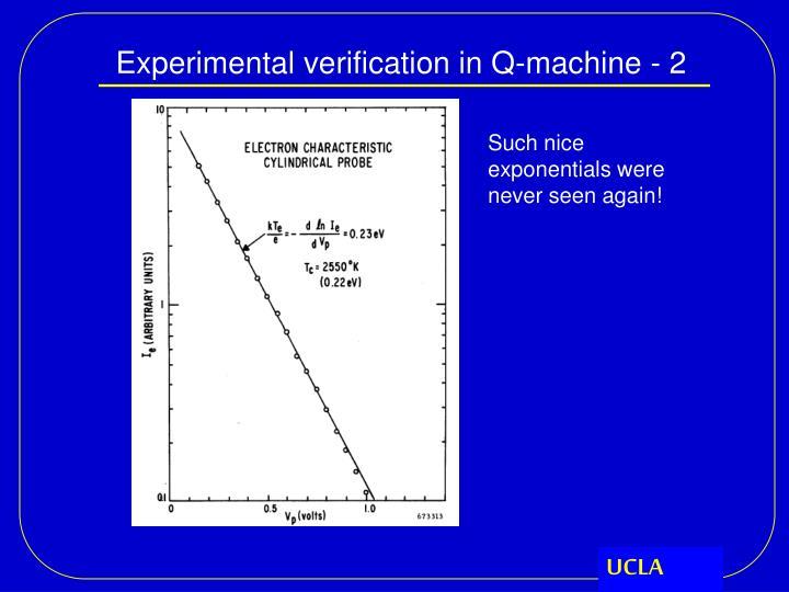 Experimental verification in Q-machine - 2