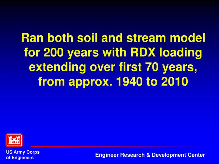 Ran both soil and stream model for 200 years with RDX loading extending over first 70 years, from approx. 1940 to 2010