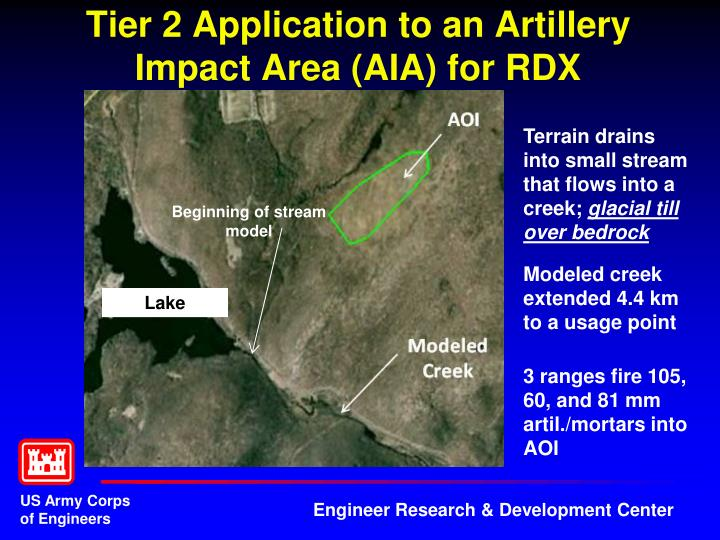 Tier 2 Application to an Artillery Impact Area (AIA) for RDX