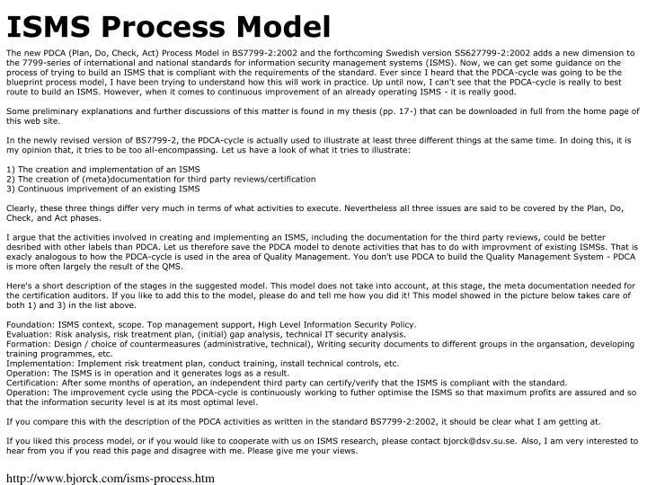 ISMS Process Model
