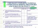 checklist comparing national competitive bidding procedures and world bank policy contd2