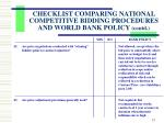checklist comparing national competitive bidding procedures and world bank policy contd3