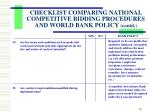 checklist comparing national competitive bidding procedures and world bank policy contd4