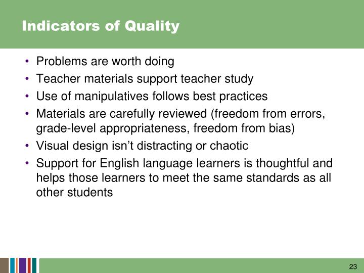 Indicators of Quality