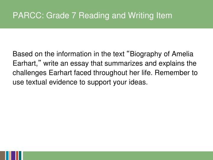 PARCC: Grade 7 Reading and Writing Item