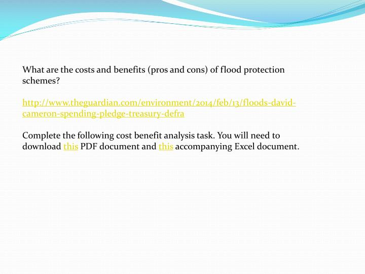 What are the costs and benefits (pros and cons) of flood protection schemes?