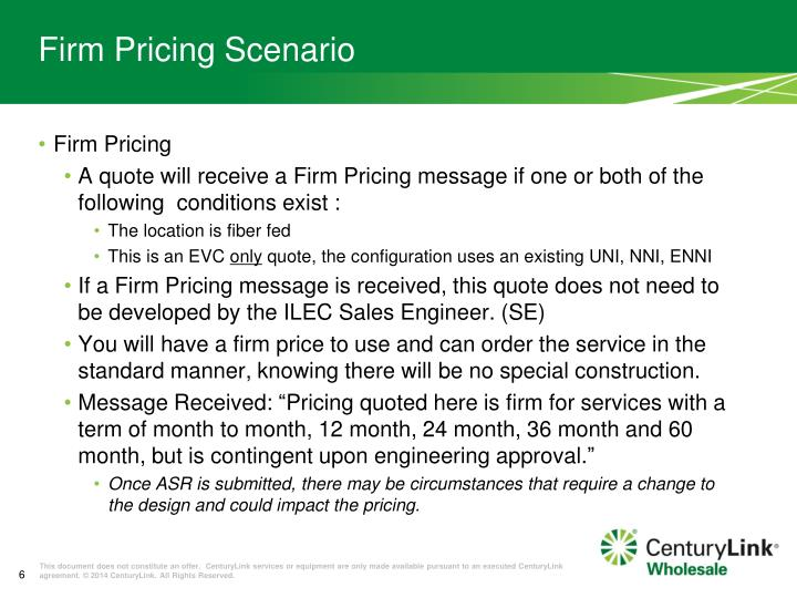 Firm Pricing Scenario