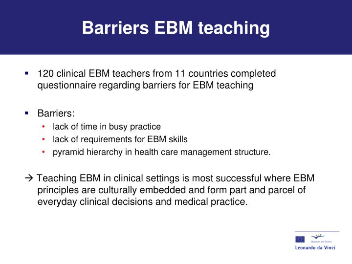 Barriers EBM teaching