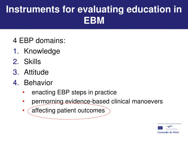 Instruments for evaluating education in EBM